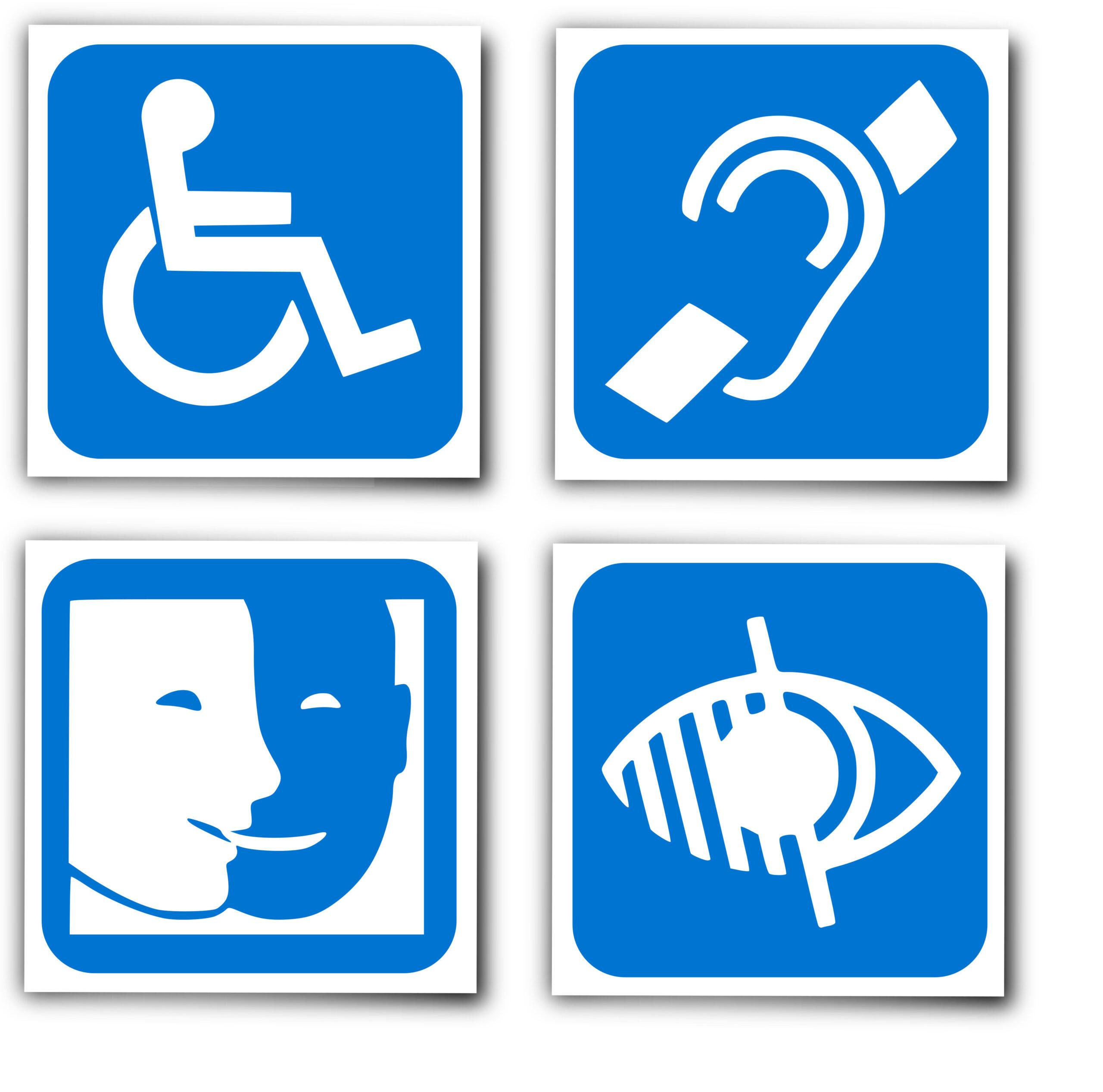 handicaps : les 4 logos (une personne en fauteuil roulant, le sigle malentendant, le sigle malvoyant et handicap mental)